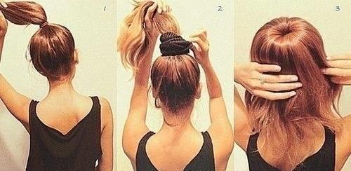 Как на длинных волосах сделать гульку из резинки