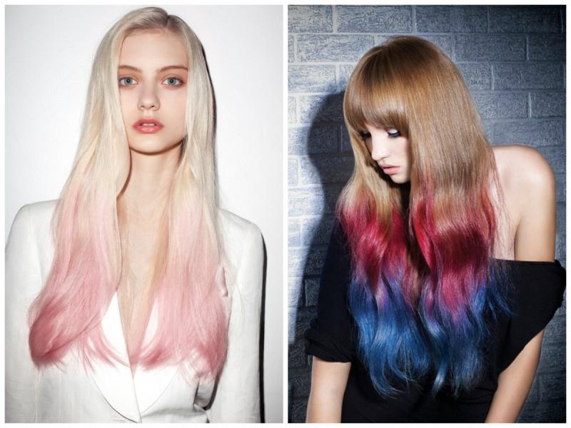 Как сделать яркие кончики волос