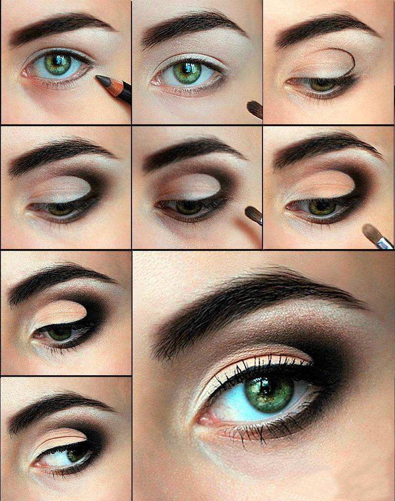 Макияж для серых глаз с нависшим веком и русых волос пошагово 7
