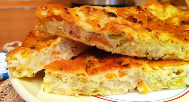 пирог с капустой быстро и просто на кефире и майонезе