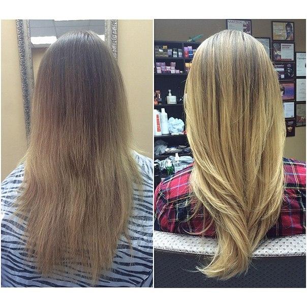 Мелирование на темные волосы фото до и после с челкой