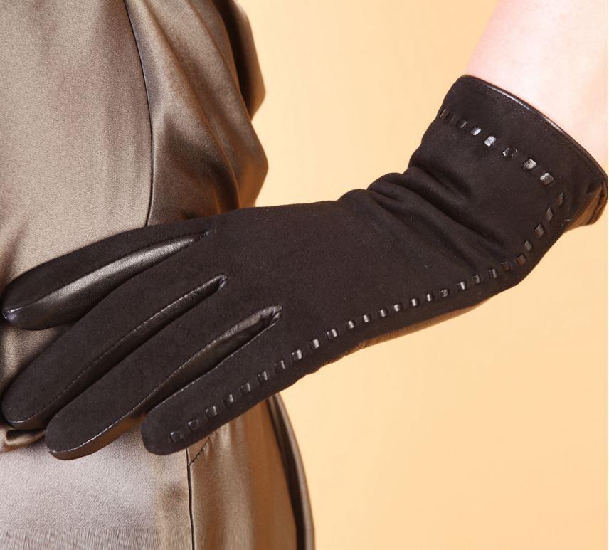 Замшевые перчатки женские