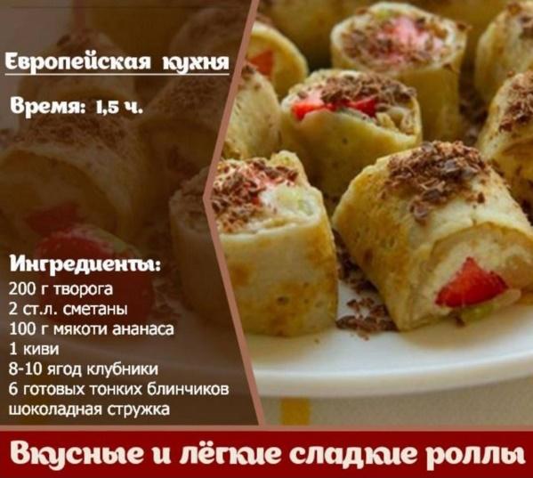 Рецепты роллов сладких в домашних условиях с пошагово