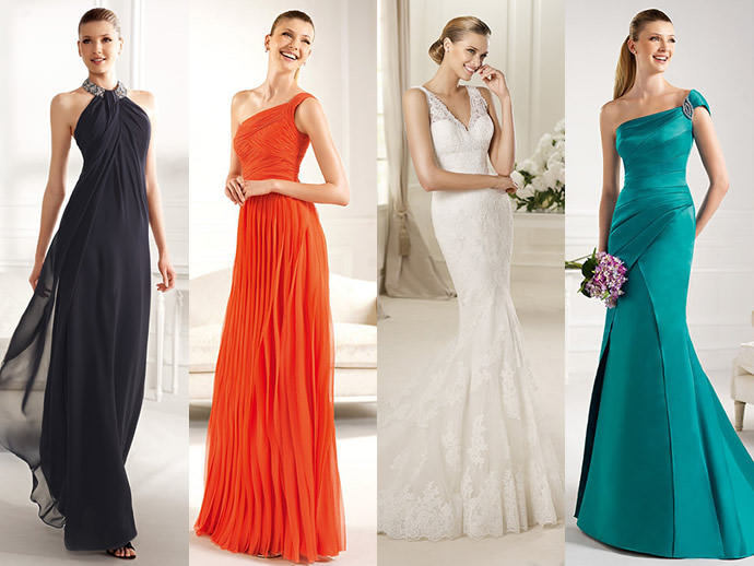 Девушки в блестящих вечерних платьях