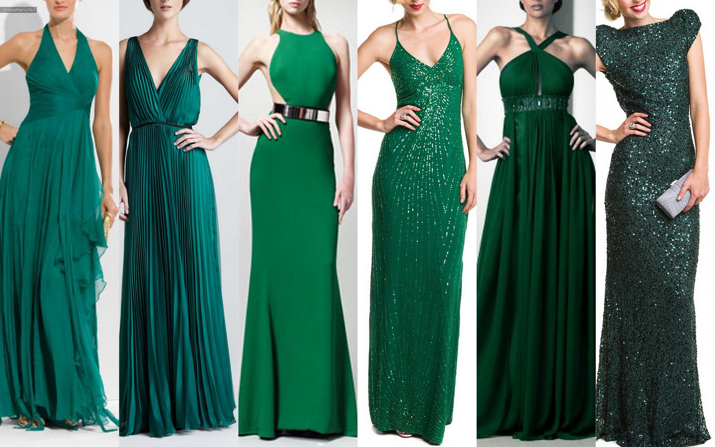 Классические зеленые платья