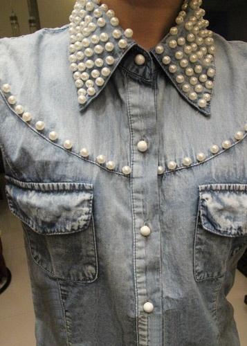 Как украсить джинсовую куртку бусинами