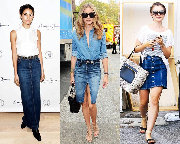 Джинсовые юбки модные в 2017 году женские