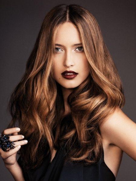 Шоколадный насыщенный цвет волос