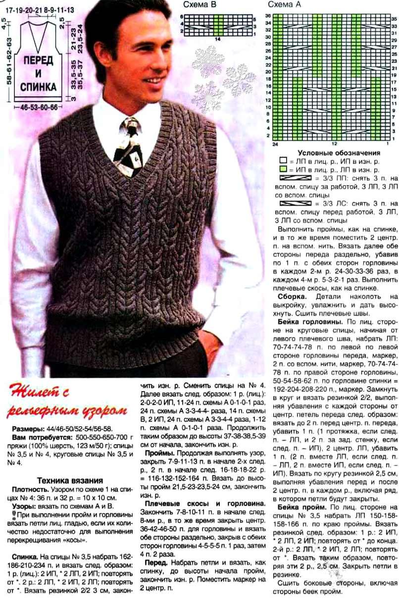 Модели мужских жилетов для вязания спицами