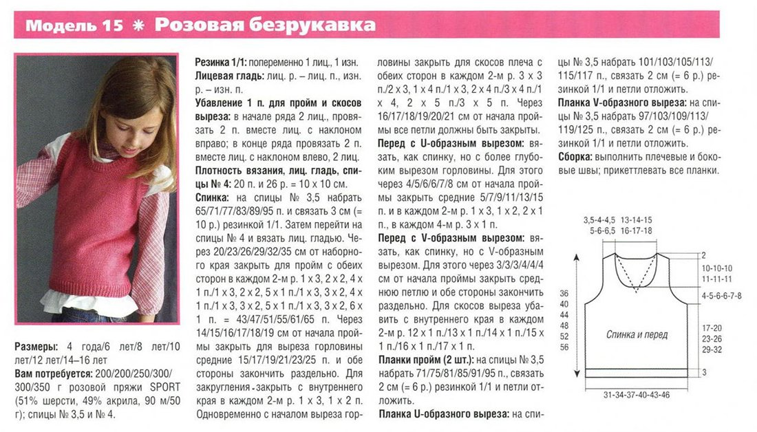 Вязание жилетки для девочки 3 лет с описанием и схемами спицами 37