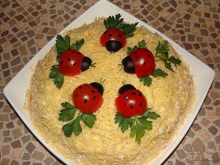 Красиво оформленные салаты рецепты с на детское день рождения
