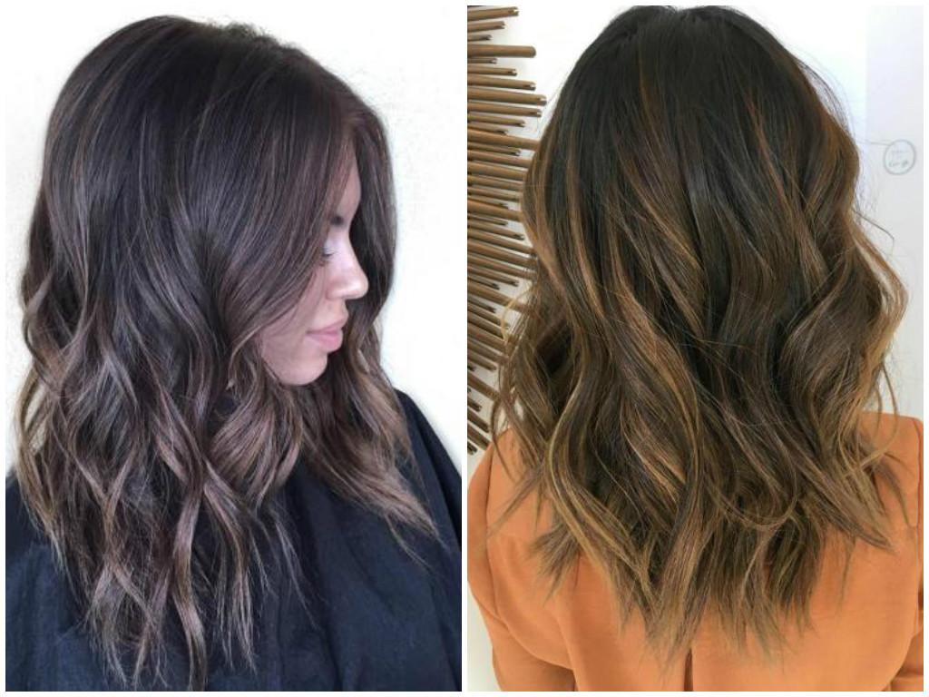 Модные покраски волос 2017 на средние темные волосы