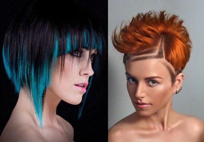 Креативное колорирование на короткие волосы