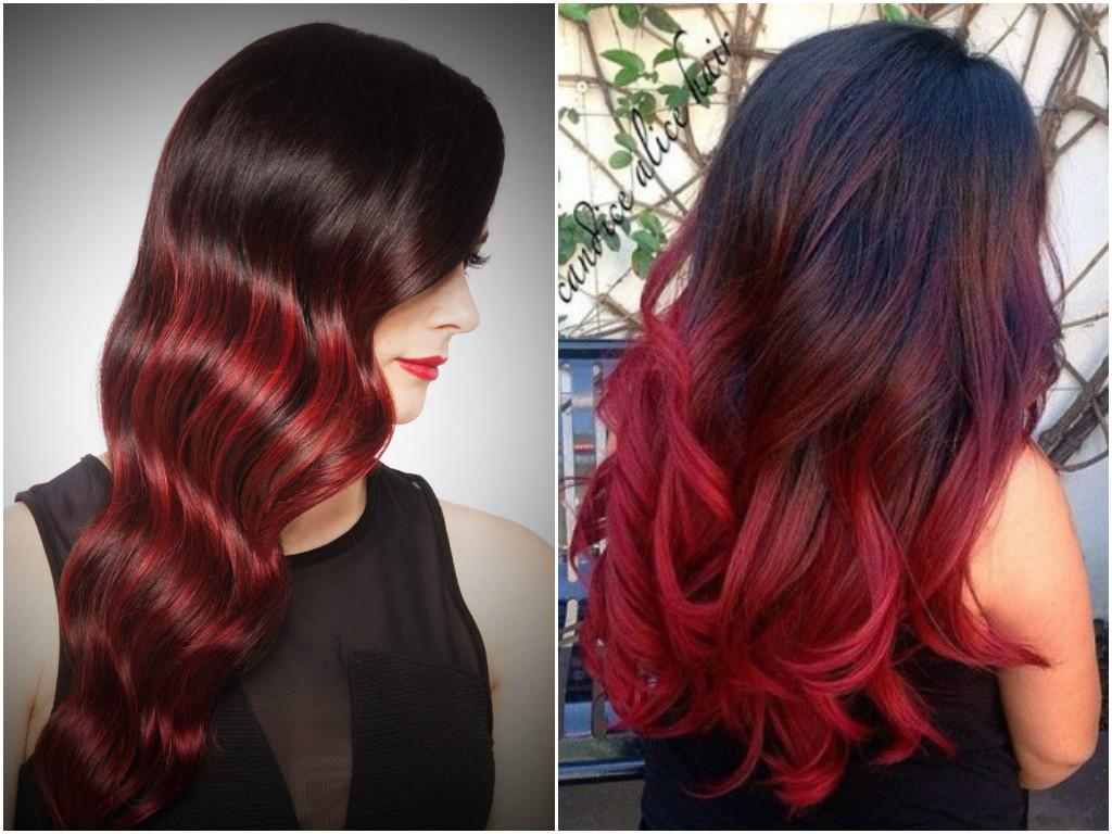 красные кончики волос у брюнеток фото