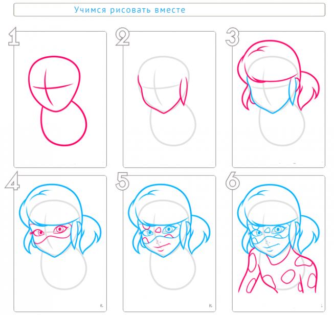 Как нарисовать леди баг своими руками