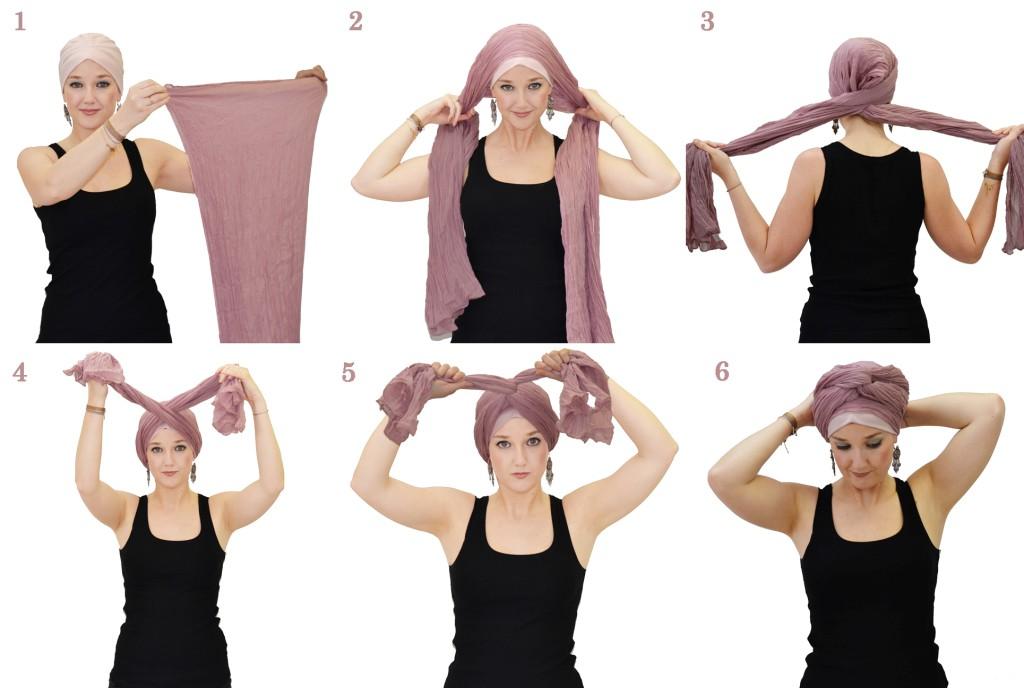 Как на голове завязать шарф