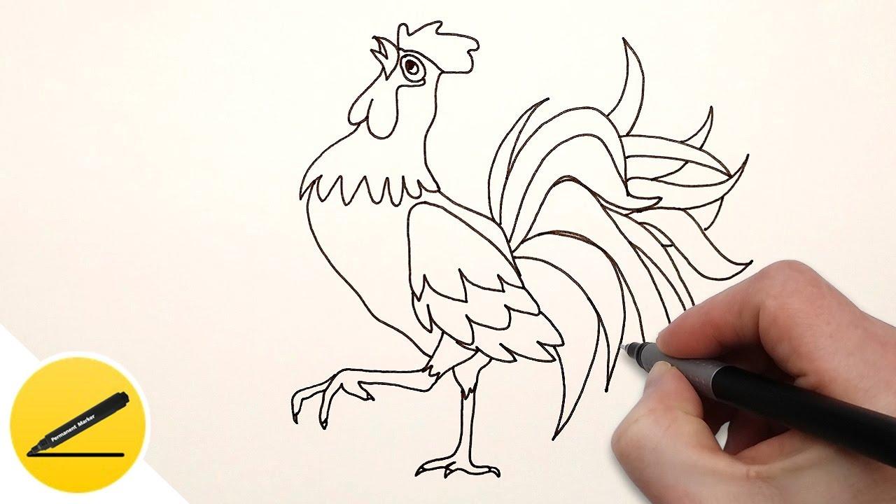 Как нарисовать петуха поэтапно карандашом на новый год