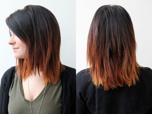 Омбре на прямые средние волосы