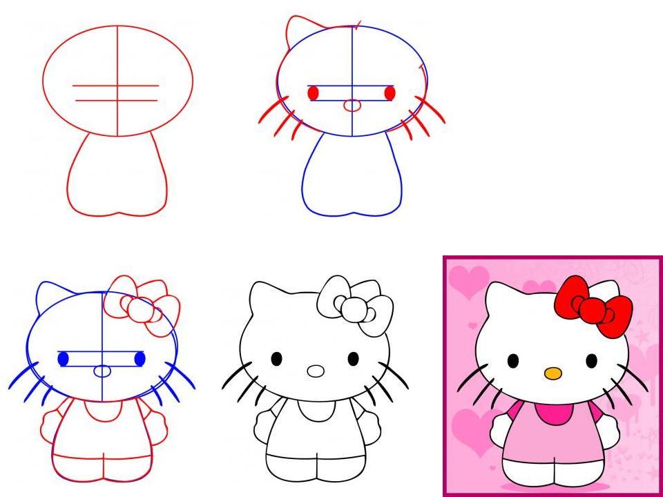 Котят рисовать поэтапно