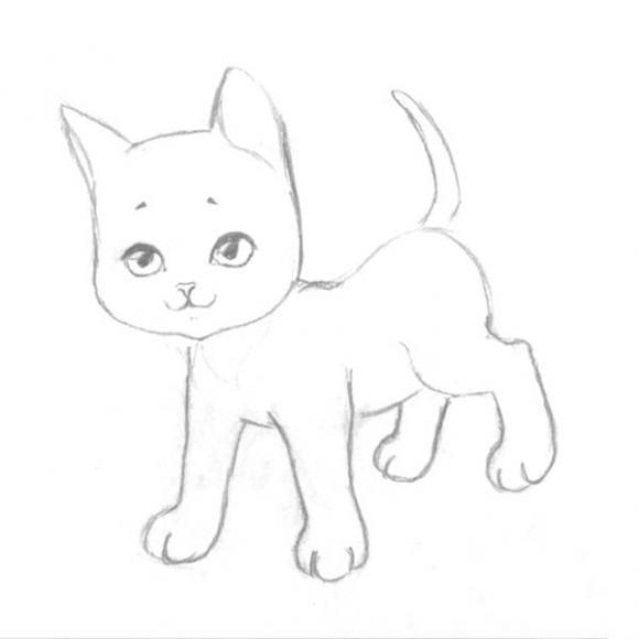 как нарисовать котёнка фото