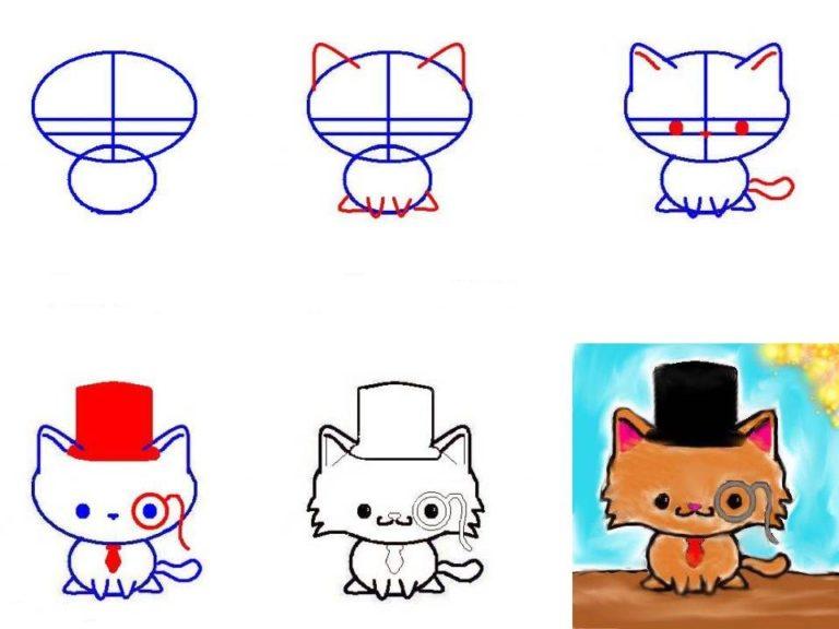 Нарисовать кошку для детей своими руками