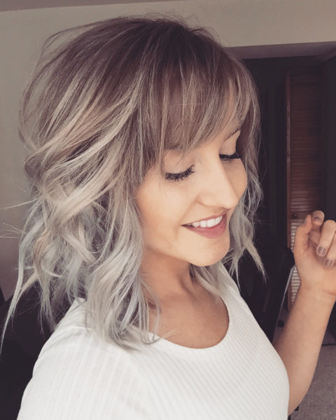 Фото омбре на средние волосы с чёлкой