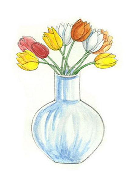 Фото ваз с цветами нарисованные
