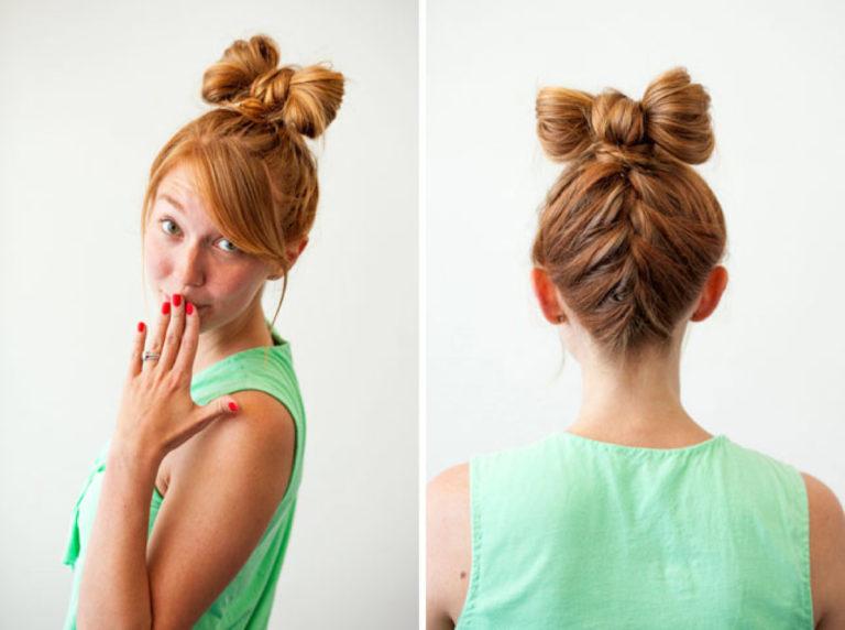 Как сделать бант из волос в прическе 290
