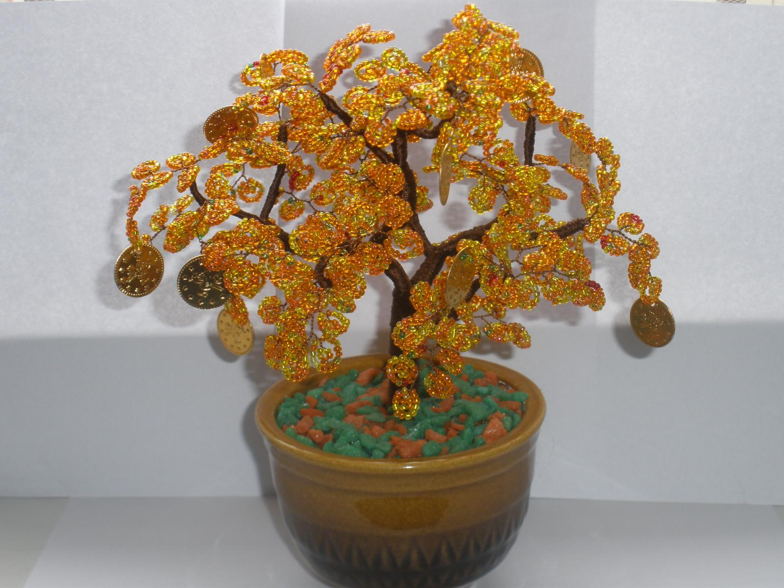 Денежное дерево из бисера: мастер-класс с пошаговыми 56