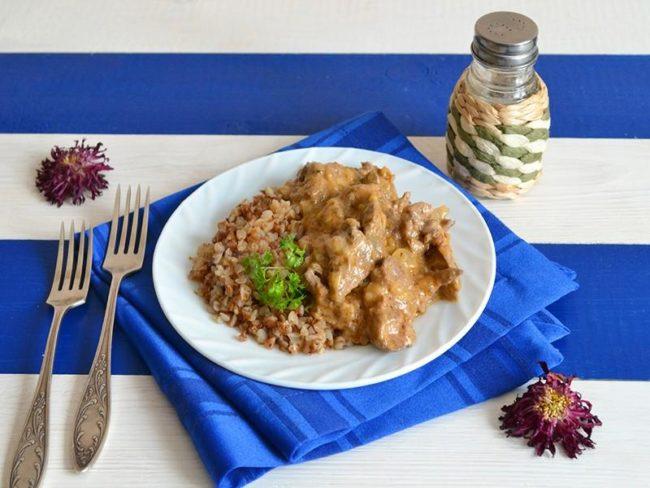 печень по-строгановски рецепт с фото пошагово