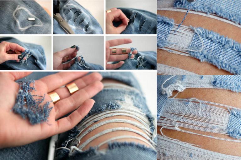 Как сделать рваные джинсы поэтапно