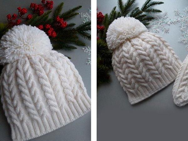 15-s-kosami Как связать шапку спицами для начинающих — схемы вязания, уроки вязания шапки. Как вязать шапку спицами