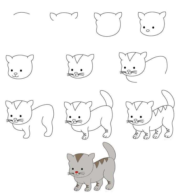 Картинки как нарисовать котенка поэтапно карандашом