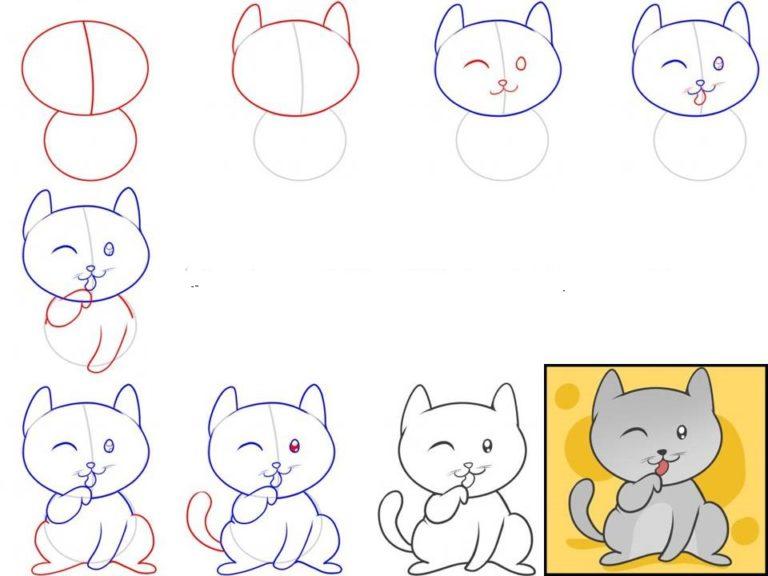 Рисунки поэтапно котиков