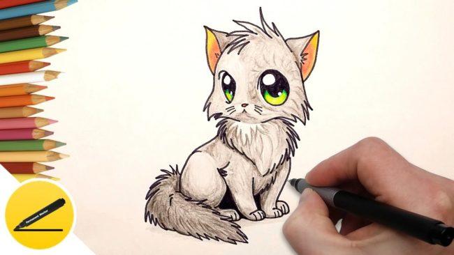 maxresdefault-5-650x366 Как нарисовать котенка с милыми глазками поэтапно карандашом для детей и начинающих? Как нарисовать котенка аниме, вислоухого, сиамского, спящего?