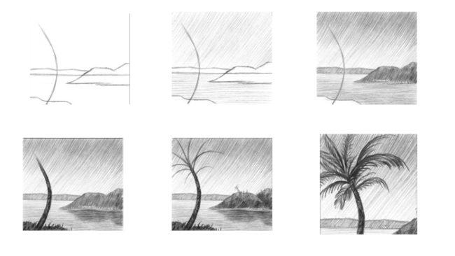 Рисунки простым карандашом поэтапно пейзаж