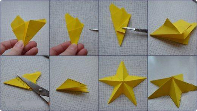 Как сделать бумажную звезду выпуклая фото 833
